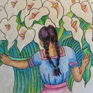 Colored pencil artwork with a girl holding together many lilies.