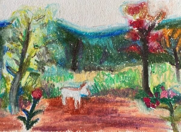 A crayon artwork of a horse in a forest.