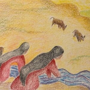 Colored pencil art piece with women washing.