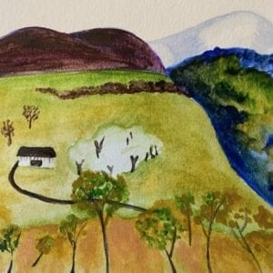 A painting of a valley and a house with trees.
