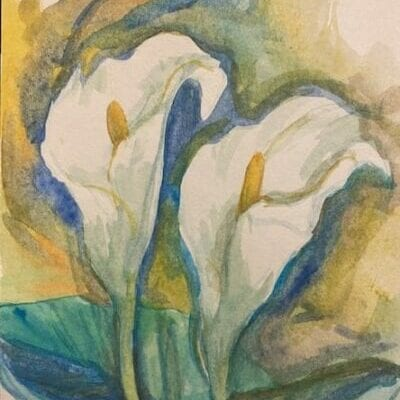 Watercolor painting of lilies.