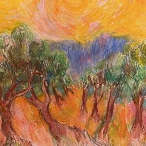 Crayon artwork of a forest landscape.