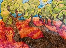 A coloring book page of trees in red, grassy hills.