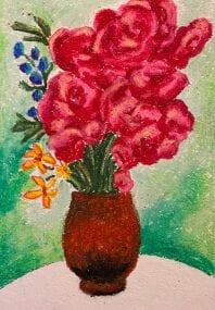 Oil pastel artwork of flowers in a vase.