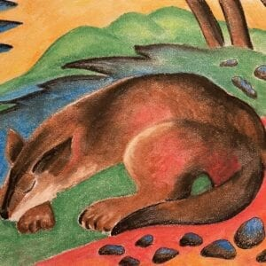 soft pastel Sleeping Wolf