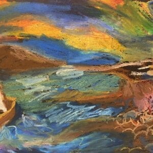 Oil pastel abstract artwork of a boat at sea.