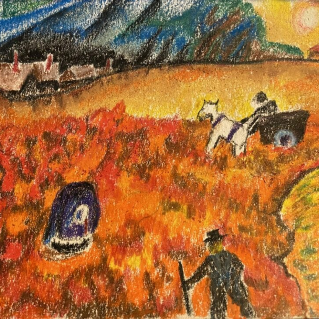 Oil pastel artwork of farmers in a field with houses on the horizon.